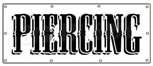 """36""""x96"""" PIERCING BANNER SIGN shop signs gun barbell tattoo"""