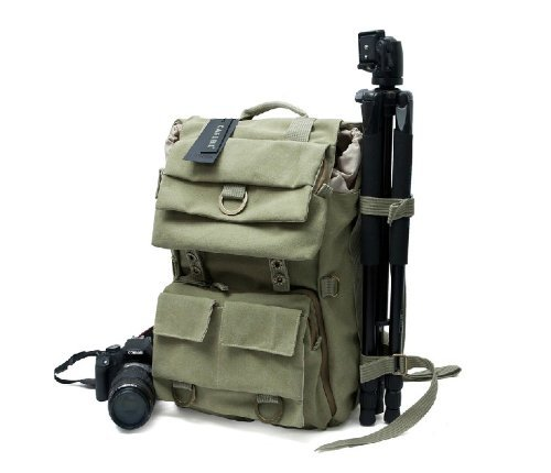 Yitao Deal Khaki Green Canvas Outdoor Camera Bag/Laptop Bag Medium Backpack, Whistle On Clip (No Tripod Included)
