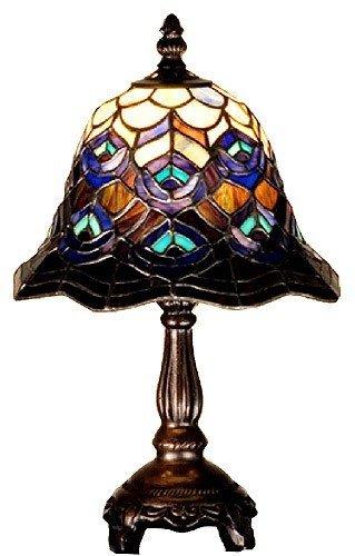 "Meyda Lighting 30317 13.5""H Tiffany Peacock Feather Mini Lamp front-186931"