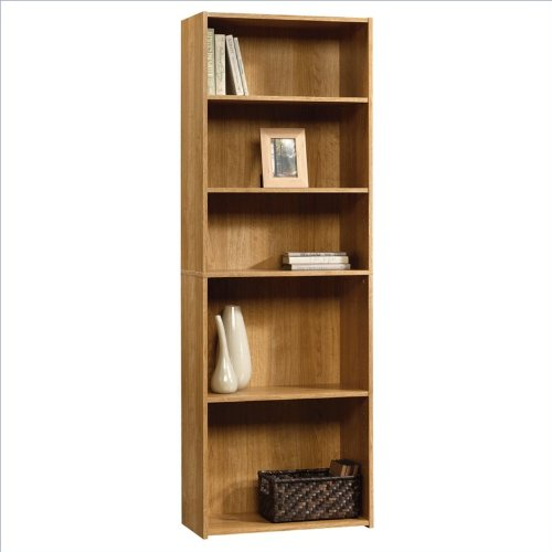 sauder beginnings 5 shelf bookcase in highland oak find