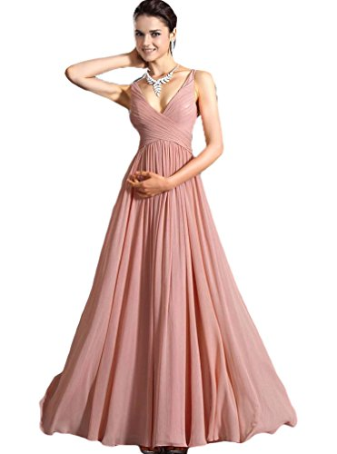 Bluetime Women's Long Chiffon Evening Formal Party Ball Gown Prom Bridesmaid Dress (L)
