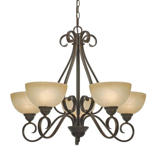 B001CM2SNW Golden Lighting 1567-5 PC Riverton Five Light Chandelier, Peppercorn Finish