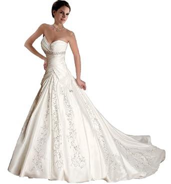 Faironly J5 White Ivory Sweetheart Wedding Dress Bride Gown (XXL, White)