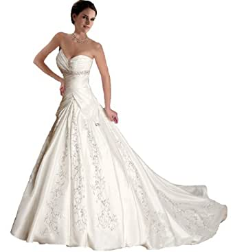 Faironly J5 White Ivory Sweetheart Wedding Dress Bride Gown (XS, Ivory)