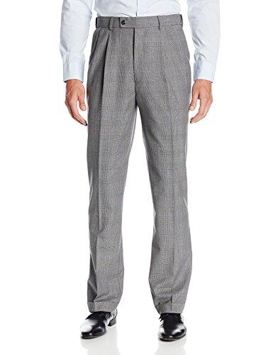 Louis Raphael Men'S Pleated Glenn Plaid With Comfort Waist Dress Pant, Black/Grey, 34X34
