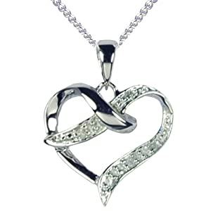 9ct White Gold Diamond Set Crossover Heart Pendant with 46cm Curb Chain