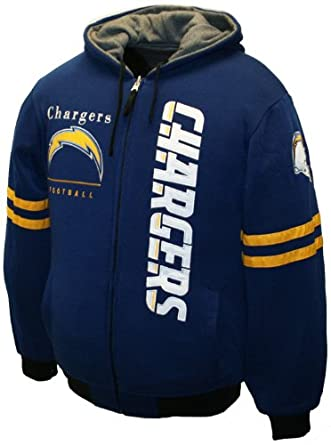 NFL Mens San Diego Chargers Dual Edge Reversible Hoodie Full-Zip Sweatshirt by MTC Marketing, Inc