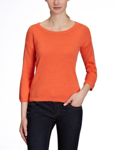 VERO MODA Damen Pullover, 10077414 CENSUS 3/4 O-NECK, Gr. 38 (M), Orange (EMBERGLOW)