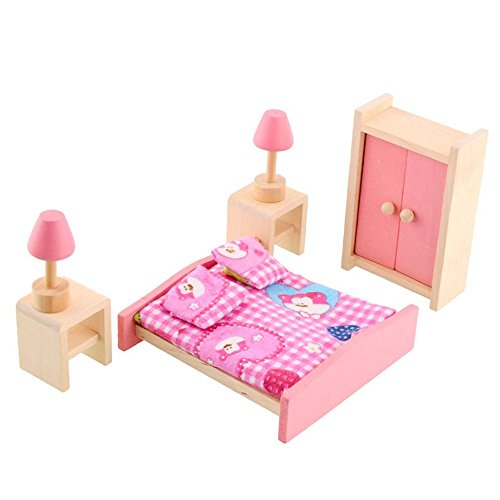 Soledi Wooden Doll Bedroom House Furniture Wardrob Bed Room Dollhouse Miniature Set For Kids Children Child Play Toy Gift