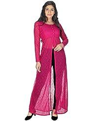 Yogalz Women Pink Color Net Kuri Ladies Casual Wear Party Wear Kurta