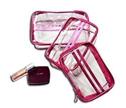 PrettyKrafts Vanity Box - Transparent Multipurpose Makeup Cosmetics Bag - Pink Rectangular Printed Organizer - Set of 3
