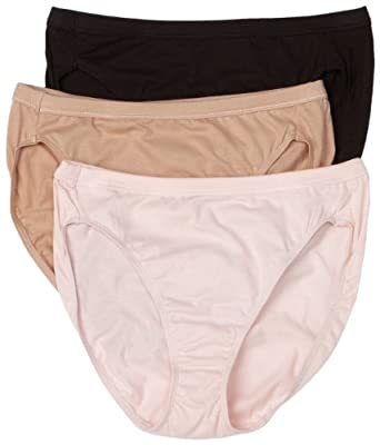 Hanes Women's Classic 3-Pack Cotton Hi-Cut Panties Brief Panties, Assorted, 7