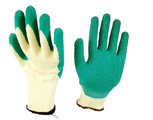 Work Gloves 4 Pack, LOT - 4 Pairs Per Package, Safety Gloves with Natural Latex Textured Rubber Coating for Hand Protection - Mechanic, Construction, Industry, Garden use, Bulk, Set, L, XL Sizes (Cooking As A Chemical Reaction compare prices)