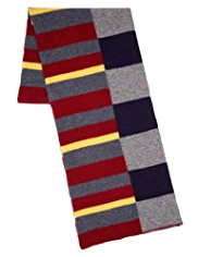 Blue Harbour Pure Lambswool Block Striped Scarf