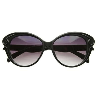 Designer Inspired Butterfly Frame Baroque Style Oversized Fashion Sunglasses (Black)