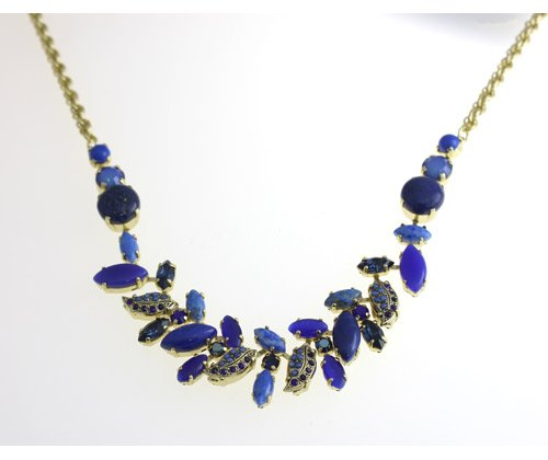 Dramatically Beautiful Necklace by Israeli Amaro Jewelry Studio from 'Third Eye Chakra ' Collection Set with Marquise Cut and Round Stones: Sodalite, Blue Onyx, Blue Abalone, Lapis Lazuli, Cat's Eye and Swarovski Crystals; 24K Rose Gold Plated
