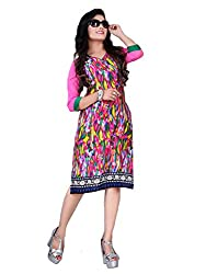 Tulip Collections Women's Cotton Straight Kurta,Pink&Green_XL