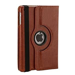 Hoko Brown 360 Degree Rotating Leather Smart Cover Case with Stand for iPad Mini + VEEGEE STYLUS (with Wake up sleep)