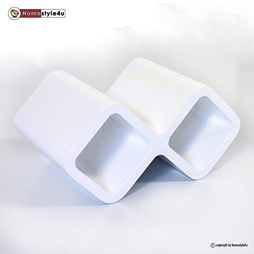 Homestyle4u Retro Cube Design Wandregal Wandboard Regal Würfel Weinregal Wein weiß