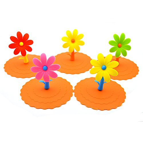 Generic Silicone Sunflower Watertight Cup Mug Lid Cover 4Pcs Random Delivery