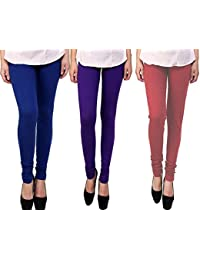 Snoogg Womens Ethnic Chic Inspired Churidar Leggings In Blue, Purple And Maroon