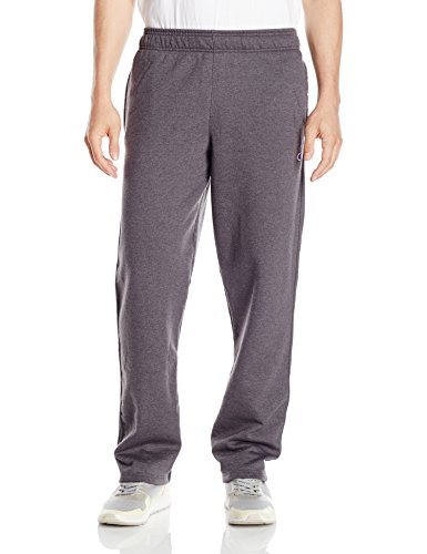 Champion Men's Powerblend Open Bottom Fleece Pant, Granite Heather, L