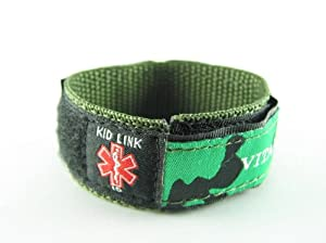 Camo Green, Childs, Kids Medical ID Bracelet, Adjustable for Boys & Girls, Free Medical Wallet Card Incld.