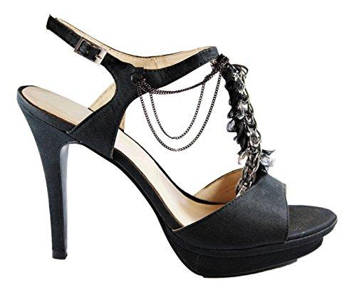 Liu-Jo sandali in tessuto nero tacco 100 (38)