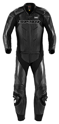 Spidi - Tuta da Moto in Pelle Supersport Touring, Nero, 50