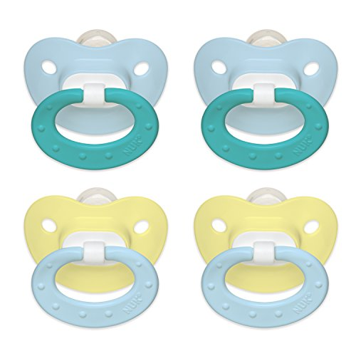 NUK Juicy Puller Silicone Pacifier in Assorted Boy Colors, 0-6 Months, 4 Count