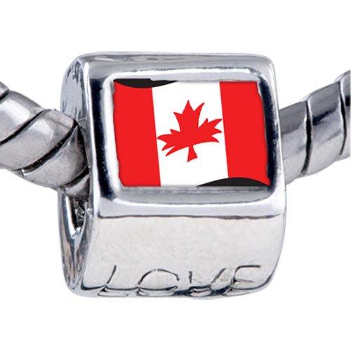 Pugster Bead Canada Flag Beads Fits Pandora Bracelet