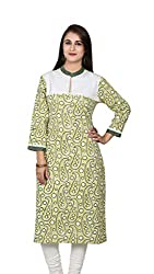 Green and White Printed and Embroided Kurta