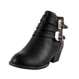 Top Moda Cl-14 Women\'s Buckle Straps Stacked Low Heel Ankle Booties,Black,7