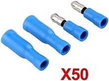 Comprar SODIAL(R) 50X Terminales Aislamiento Electrico Forma Bala Color Azul