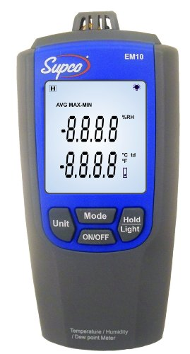 Supco EM10 Temperature and Humidity Meter with LCD Display, 14 to 122 Degrees F - 1