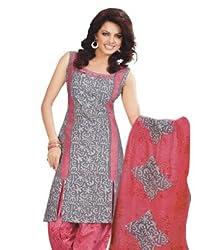 SalwarSaloon Women's Georgette Long Anarkali Unstitched Salwar Suit Dress Material(830_SS_Grey)
