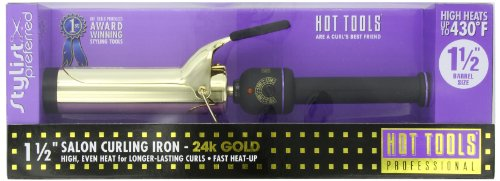 Hot Tools Professional 1102 Curling Iron with Multi-Heat Control, Big Bumper 1-1/2″