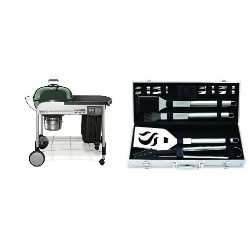 weber 15507001 performer deluxe charcoal grill 22 inch green with cuisinart grilling set home. Black Bedroom Furniture Sets. Home Design Ideas