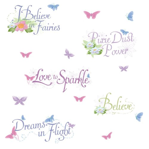 Roommates Rmk1515Scs Disney Fairies Glitter Phrases Peel & Stick Wall Decals