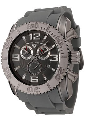 Swiss Legend Men's 20067-GM-12 Commander Collection Chronograph Gun Metal Grey Rubber Watch