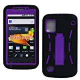 Bastex Hybrid Black and Purple Heavy Duty Case with Kickstand for ZTE WARP N860 + Bastexwireless cleaning cloth