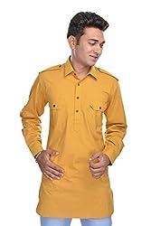Nishiva Men Yellow Cotton Kurta NMK108_L