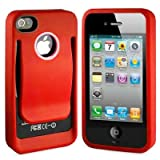 Polymer Cover Case with Belt Clip for iPhone 4 4S, Red