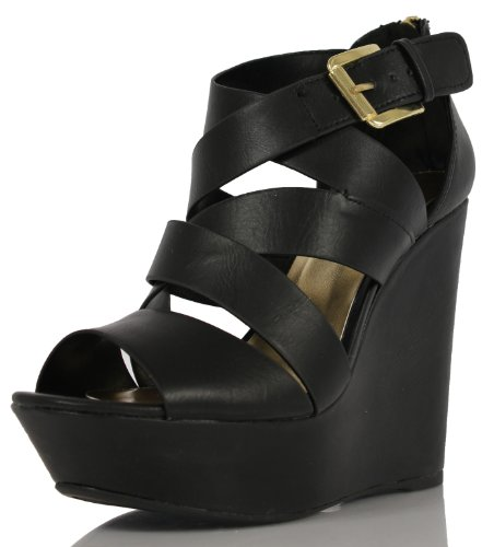 Soda Women'S Hat Faux Leather Open Toe Thick Strappy Ankle Strap Wedge, Black, 6 M Us