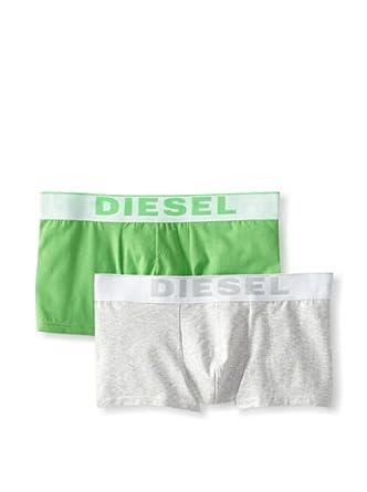 (新品)迪赛Diesel男士弹力棉四角内裤2条Kory Fresh&Bright Two Pack 灰和绿$19.14