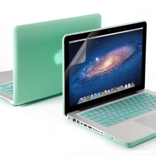 """GMYLE(R) 3 in 1 Robin Egg Blue Turquoise Matte Rubber Coated Hard Case Cover for 13.3"""" inches Macbook Pro - with Robin Egg Blue Turquoise Silicon Keyboard Protector - 13 inches Clear LCD Screen Protec"""