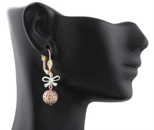 Gold Filled Tri Tone Ribbon Bow Tie & Ornamental Ball 1.5 Inch Dangle Earrings