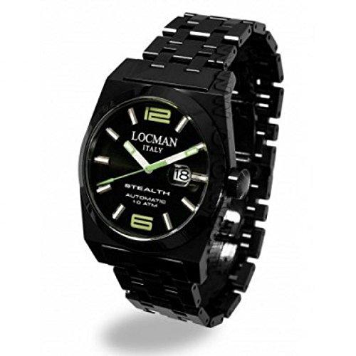 Reloj Locman Stealth 0205bkbkngr0brk automático Titanio quandrante negro correa acero