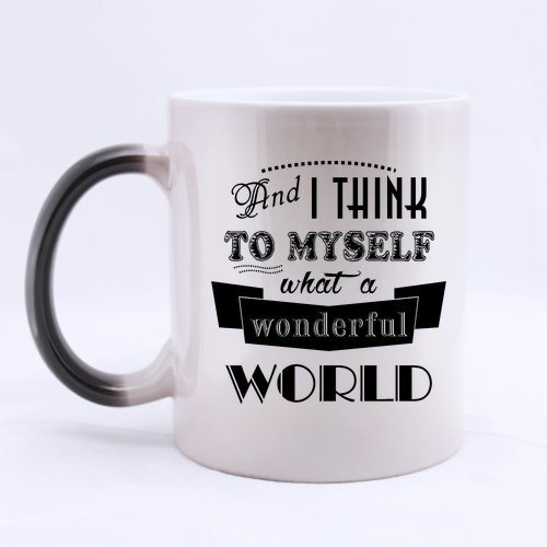 New Style What A Wonderful World Morphing Coffee Mug or Tea Cup - 11 ounces (One Direction Lyric Mug compare prices)