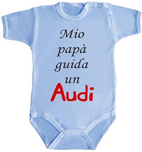 body-bimbo-bimba-neonato-pigiama-mio-papa-guida-un-audi-3-mesi-azzurro